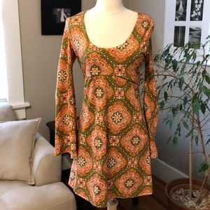 Judith March Boho Hippie Bell Sleeve Mini Dress